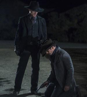 Ed Harris as The Man in Black and James Marsden as Teddy. Photo credit John P. Johnson/HBO