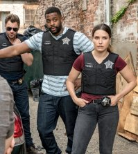 Pictured: (l-r) Patrick Flueger as Kyle Ruzek, LaRoyce Hawkins as Kevin Atwater, Sophia Bush as Erin Lindsay -- (Photo by: Matt Dinerstein/NBC)