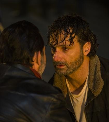 Jeffrey Dean Morgan as Negan, Andrew Lincoln as Rick Grimes- The Walking Dead _ Season 7, Episode 1 - Photo Credit: Gene Page/AMC