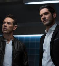 LUCIFER: L-R: Kevin Alejandro and Tom Ellis in Lucifer | Co. Cr: Michael Courtney/FOX.