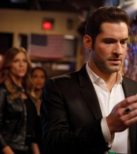"LUCIFER: (L-R) Tricia Helfer, Lesley-Ann Brandt and Tom Ellis in the ""Love Handles"" episode of LUCIFER 