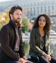 "SLEEPY HOLLOW: L-R: Tom Mison and Lyndie Greenwood in the ""Columbia"" Season Four premiere 