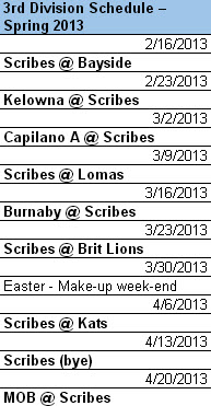 Scribes Rugby Club Vancouver spring schedule.