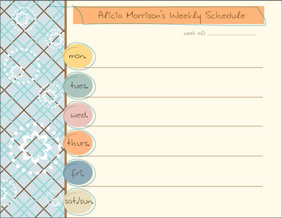 Sea Blue Personalized Calendar Pad Weekly Schedule Pad Custom