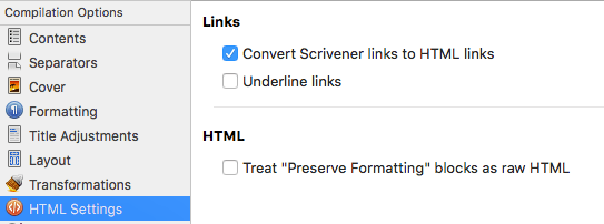 Underlining links