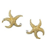 18k Gold Starfish Earrings with Diamonds | Diamond ...