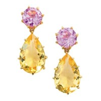 18k Gold Pink Topaz Citrine Tear Drop Earrings
