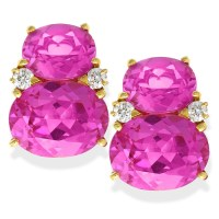 Large Gumdrop Earrings, Pink Topaz