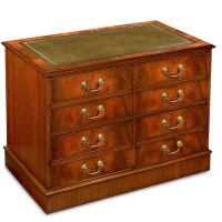 Mahogany Double File Cabinet with Green Leather Top ...
