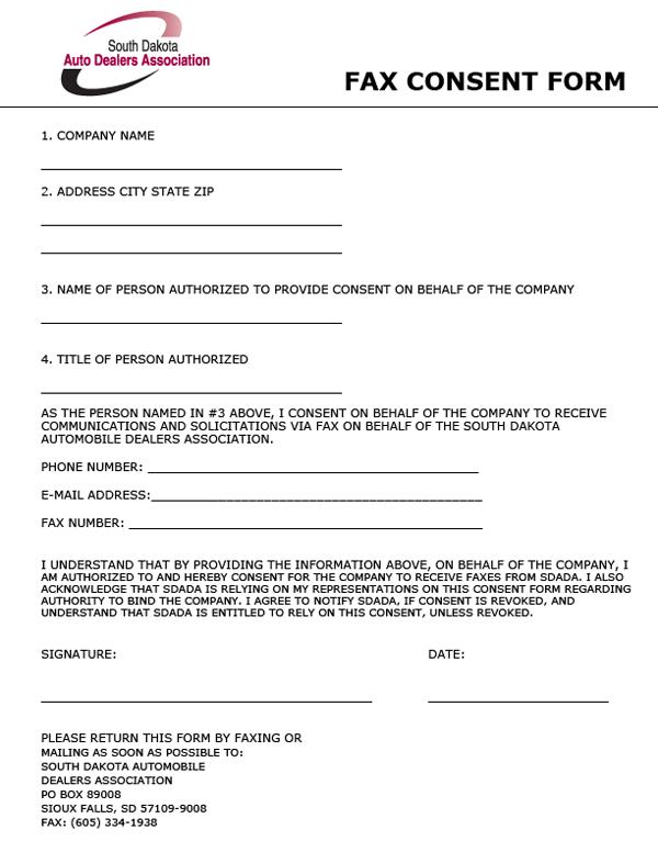 South Dakota Auto Dealers Association - Fax Consent Form