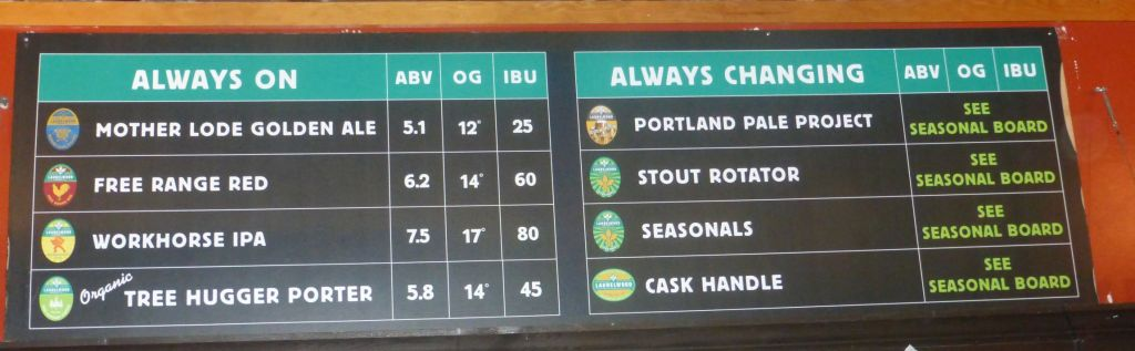 Beer Selection at Laurelwood.