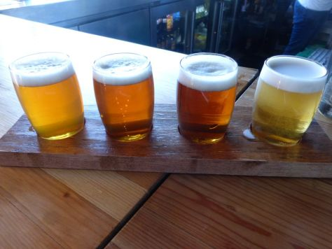 First flight left to right IPA, Strong Pale, Rye Pale, Extra Pale.