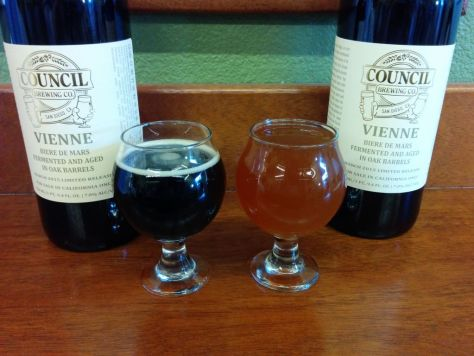 Bottles of Vienne with the Irish Stout and Vienne in tasters.