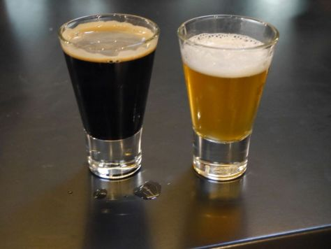 Chardonnay aged IPA (right) and Red Wine aged Black Ale (left)