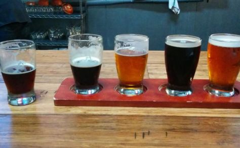 My flight of beers with an extra for the double IPA.