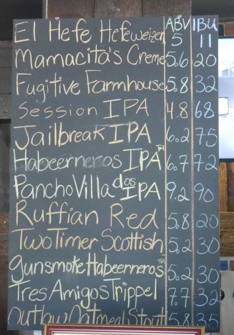 Main beer menu when I visited.