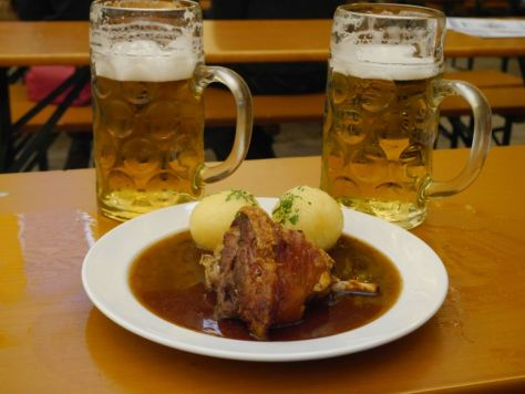 Pork knuckle with our two beers.