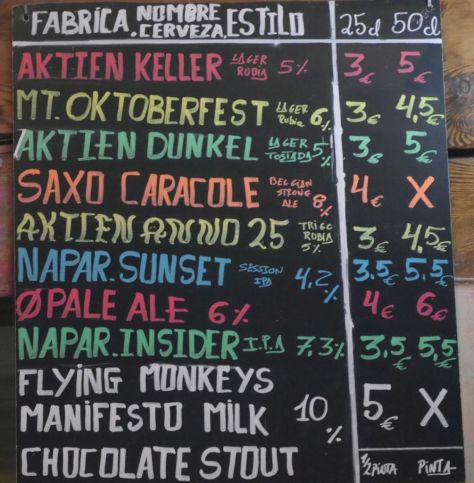 Tap List at La Cerveteca.