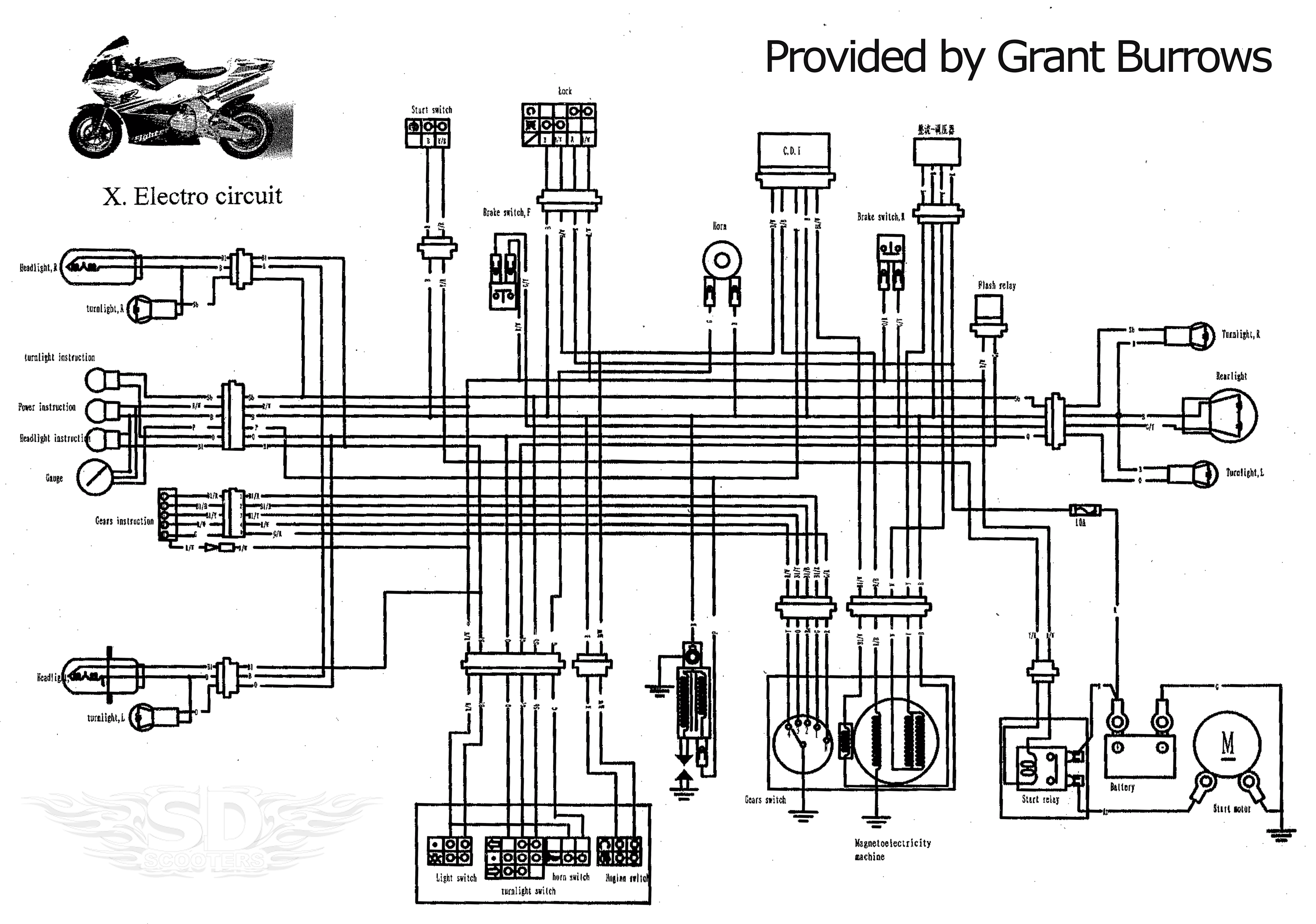 bike motor schematic diagram of motor repalcement parts and diagram