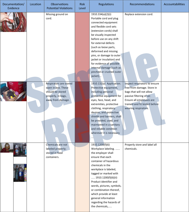 Safety Consulting - Audits\/Mock OSHA Audit Haz Compliance - safety report sample