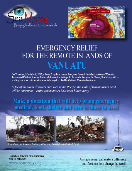 Farewell Vanuatu - Cyclone Pam 2015 SeaMercyorg - disaster relief flyer