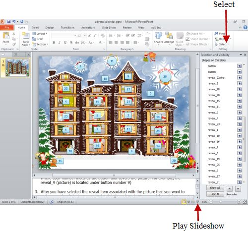 How to make an advent calendar on your computer using PowerPoint - sample power point calendar