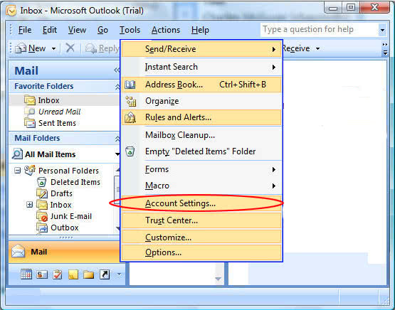 Microsoft Outlook 2007 Set-Up \u2022 Help Desk \u2022 Seanet