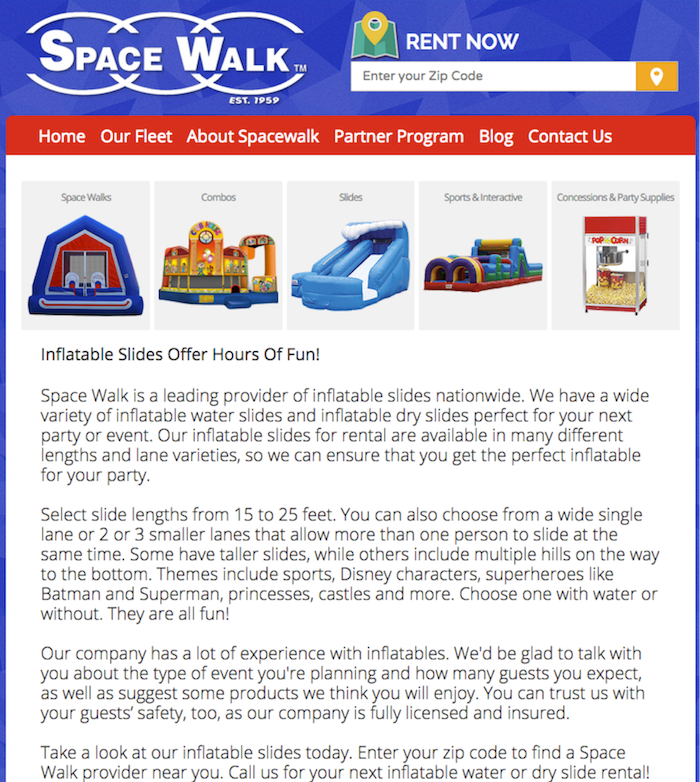 Space Walk Franchise SEO Image Search Influence