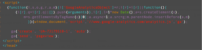 JavaScript Snippet For Google Analytics Image