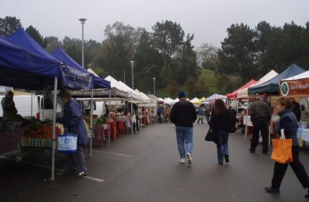 San Rafael farmers market in the rain