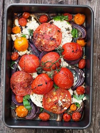 Warm Roasted Tomato, Onion and Feta Salad
