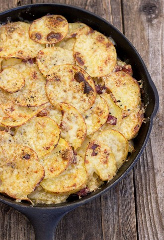 Pan Haggerty - layers of potato, onion and bacon topped with Dubliner cheese