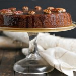 Pecan Banana Cake with Warm Butter Rum Toffee Sauce