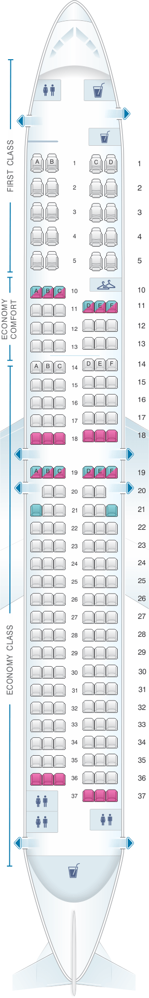Seat Map For Delta Air Lines Boeing B737 900er 739