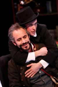 """David Quicksall as Don Armado and Mickey Rowe as Moth in Seattle Shakespeare Company's 2013 production of """"Love's Labour's Lost."""" Photo by John Ulman."""