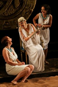 "Terri Weagant as Charmian, Amy Thone as Cleopatra, and Allison Strickland as Iras in Seattle Shakespeare Company's 2012 production of ""Antony and Cleopatra."" Photo by John Ulman."