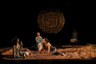 "Allison Strickland as Iras, Terri Weagant as Charmian, and Amy Thone as Cleopatra in Seattle Shakespeare Company's 2012 production of ""Antony and Cleopatra."" Photo by John Ulman."