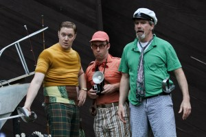 "Matt Shimkus as Andrew Aguecheek, Harry Todd Jamieson as Fabian, and Jim Gall as Sir Toby Belch in Seattle Shakespeare Company's 2012 Wooden O production of ""Twelfth Night."" Photo by John Ulman."