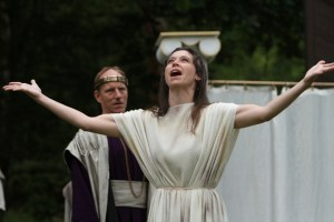"""Michael Patten as Leontes and Alyson Bedford in Seattle Shakespeare Company's 2012 Wooden O production of """"The Winter's Tale."""" Photo by Alan Alabastro"""