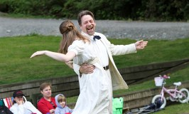 """Brenda Joyner as Hero and Keith Dahlgren as Leonato in the 2010 Wooden O production of """"Much Ado About Nothing."""""""