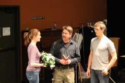 "Brenda Joyner as Hero, Keith Dahlgren as Friar Frances, and Jay Myers as Claudio in rehearsal for ""Much Ado About Nothing."""