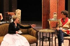 Kimberly King as Lady Bracknell and Quinn Franzen as Algernon