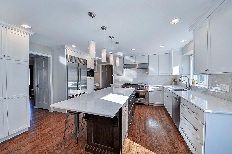 311 Kitchen Remodeling Ideas Dark Cabinetry White Quartz Aurora Naperville IL Illinois Sebring Services