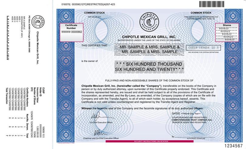 Proposed Specimen stock certificate for Common Stock