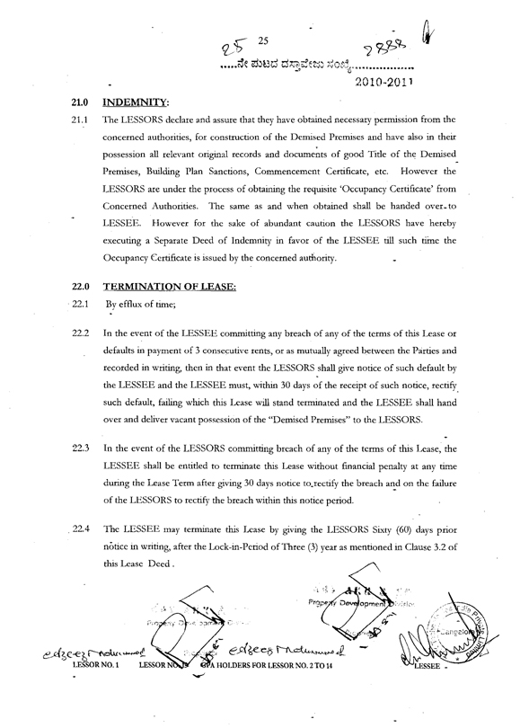 LEASE DEED - deed of indemnity