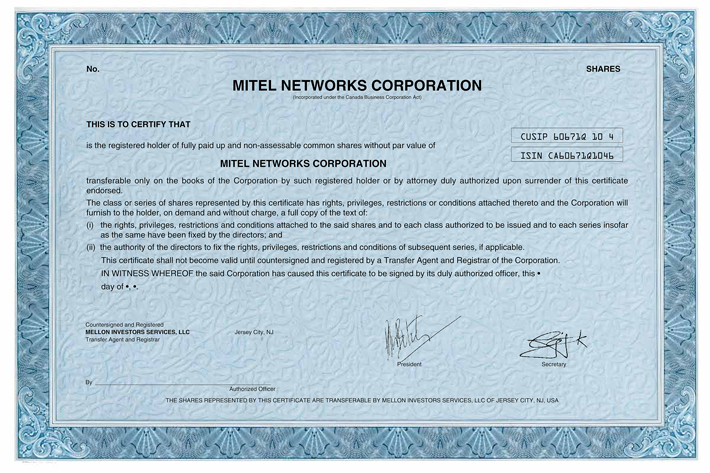 Form of Common Share Certificate
