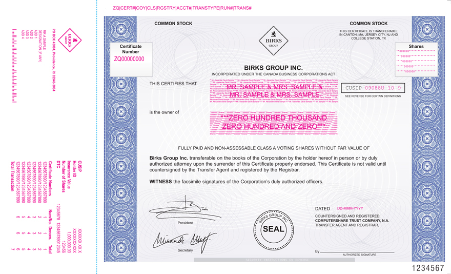 Form of Birks Class A voting share certificate