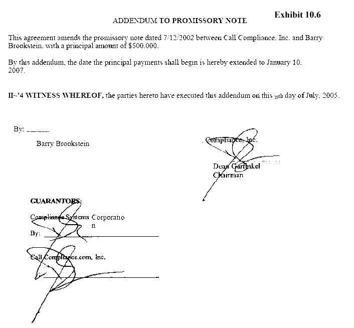 Addendum to Promissory Note by SeanieMac International - promissory note parties