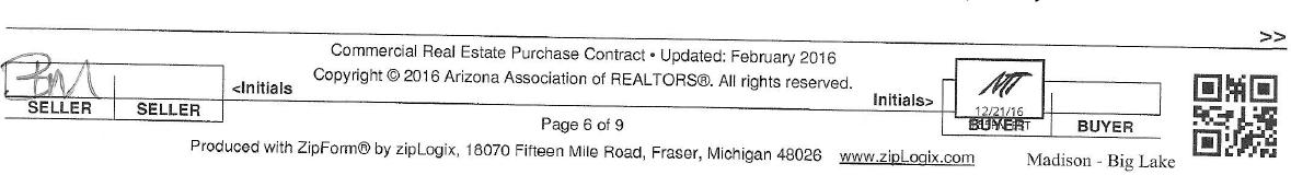 Commercial Real Estate Purchase Contract dated December 22, 2016