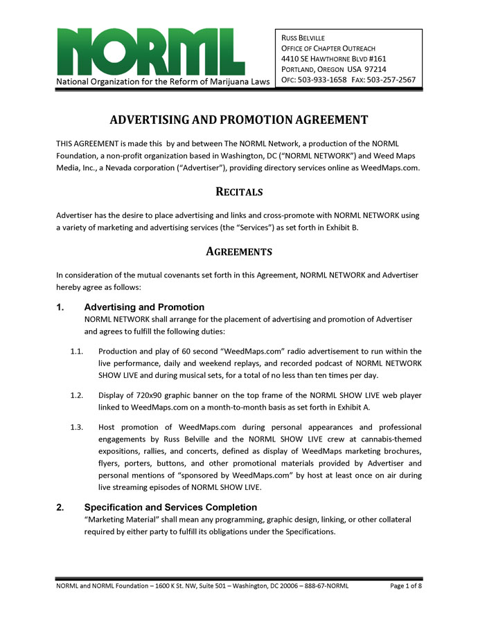 Advertising and Promotion Agreement - NORML Network and Weed Maps - sample business agreements